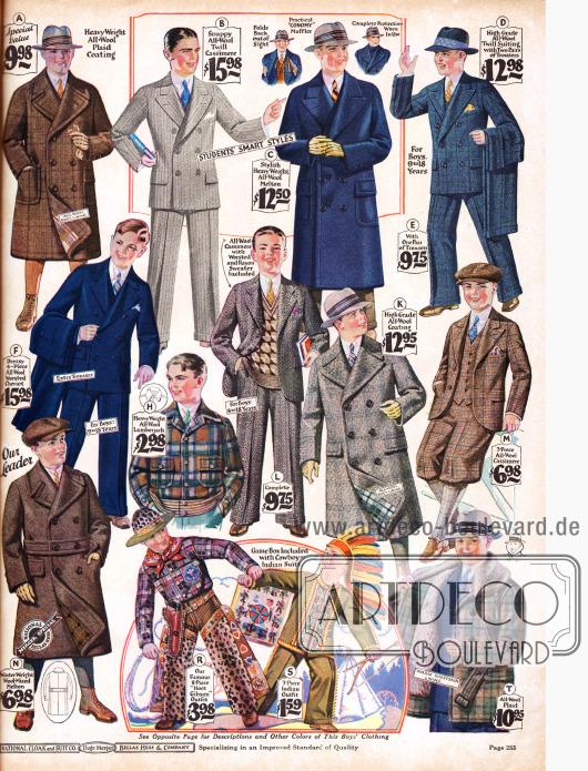 """Zweireihige Ulstermäntel, zwei- und einreihige Anzüge aus Wolle und Kaschmir für Jungs von 7 bis 18 Jahren. Eine doppelreihige, sog. """"Mackinaw"""" Jacke mit angenähtem Gürtel und Schafspelzfutter und Kragen für Jungs ist das Modell T. Jacke H ist eine Holzfällerjacke Hüftbund. Cowboy und Indianerspielanzug (R, S) befinden sich mittig unten."""