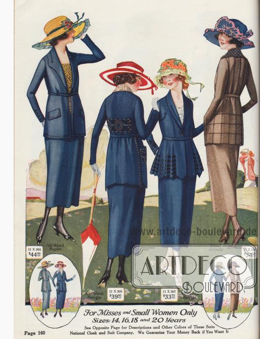 Kleidsame Straßenkostüme speziell für junge Frauen zwischen 14 und 20 Jahren oder zierliche Damen, die kleine Konfektionsgrößen benötigen. Woll-Popeline, Woll-Serge und Woll-Jersey sind die bevorzugten Kostümmaterialien. Die Kostümjacken sind mit wohl platzierten Stickereien in abstechender Farbe oder mit Pfeilspitzen, Ziernähten, Tressen oder Haarbiesen hauptsächlich im Schoßbereich geschneidert. Alle Jacken sind entweder mit eingearbeiteten Taschen mit Taschenpatten, aufgesetzten Taschen oder unsichtbaren Schlitztaschen versehen. Die dritte Kostümjacke präsentiert einen wellig gearbeiteten, abstehenden Schoß mit invertierter Kellerfalte im Rücken. Sämtliche Modelle mit schmalen Gürteln aus dem Kleidmaterial.