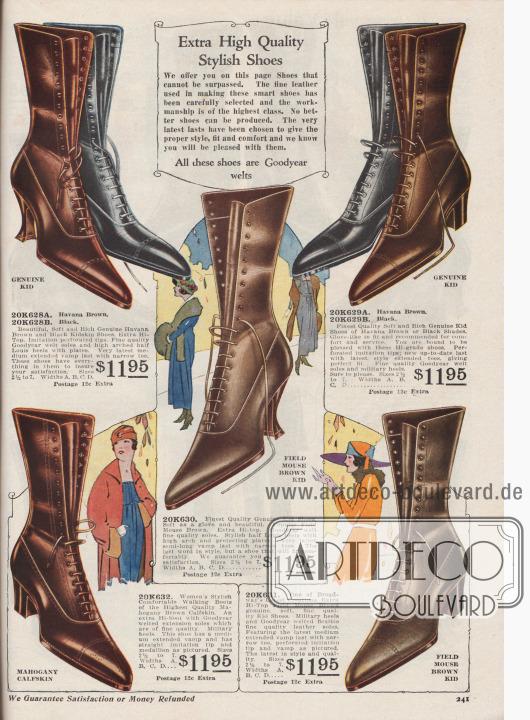 """""""Modische Schuhe von besonders hoher Qualität. Wir bieten Ihnen auf dieser Seite Schuhe, die unübertrefflich sind. Das feine Leder, das für die Herstellung dieser eleganten Schuhe verwendet wird, wurde sorgfältig ausgewählt und die Verarbeitung zeugt von höchster Güte. Es können keine besseren Schuhe hergestellt werden. Die allerneuesten Leisten wurden ausgewählt, um das richtige Modell, die richtige Passform und den richtigen Komfort zu bieten. Wir wissen, dass Sie mit ihnen zufrieden sein werden. Alle diese Schuhe sind Goodyear-rahmengenähte Modelle.""""  (engl. """"Extra High Quality Stylish Shoes. We offer you on this page Shoes that cannot be surpassed. The fine leather used in making these smart shoes has been carefully selected and the workmanship is of the highest class. No better shoes can be produced. The very latest lasts have been chosen to give the proper style, fit and comfort and we know you will be pleased with them. All these shoes are Goodyear welts"""").  Hochgeschlossene Damenschnürstiefel aus Chevreauleder (Ziegenleder) oder Kalbsleder in den Farben Havannabraun, Schwarz, Feldmaus-Braun oder Mahagoni-Braun. Spitze, moderne Schuhkappen und Oxfordschnürung. Wahlweise geschwungene, hohe Louis XIV Absätze oder militärische Laufabsätze. Modelle mit glatt verarbeitetem Oberleder oder mit Lochlinienverzierung. Ein Schuh-Modell mit Vorderkappenmuster."""