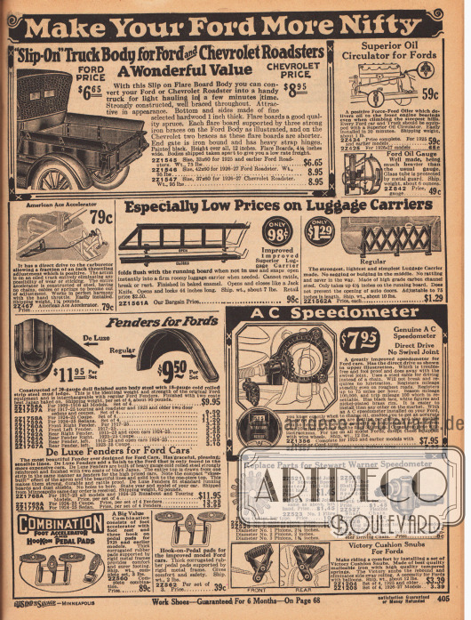 """""""Machen Sie Ihren Ford schicker"""" (engl. """"Make Your Ford More Nifty""""). Eine Ladefläche für Ford und Chevrolet Automobile (Roadsters), Ölwälzpumpen, Ölstandsanzeigen, Beschleunigungs- und Kupplungsvorrichtungen mit Hebel, Gepäckgitter und Gepäckhalterungen, Kotflügel und Schutzbleche, Pedalen, Geschwindigkeitsmesser mit Tacho, Ersatzteile für den Geschwindigkeitsmesser und Achsenfedern für besseren Fahrkomfort."""