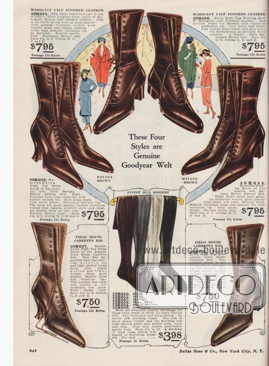"""""""Diese vier Modelle sind echt rahmengenäht"""" (engl. """"These Four Styles are Genuine Goodyear Welt""""). Hochgeschnittene Schnürstiefel aus mahagonibraunem Kalbsleder, havannabraunem afrikanischen Chevreauleder (Ziegenleder) oder wühlmaus-braunem Cabretta Ziegen- bzw. Schafsleder aus Südamerika oder Afrika. Die Stiefel für Damen zeigen die geschlossene Oxford-Schnürung, spitze Schuhkappen, Lyralochung über der Vorderkappe und leichte Ziernähte. Zur Wahl stehen Modelle mit Louis XIV Absätzen und kubanischen Militärabsätzen. Unten mittig Damenstrümpfe aus reinen Seidenfäden, erhältlich in den Farben Schwarz, Weiß, Braun, Mausgrau, tiefem Himmelblau oder Gold."""