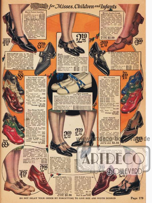 Sandaletten und Oxfords für kleine Mädchen und Sandalen für Kleinkinder.
