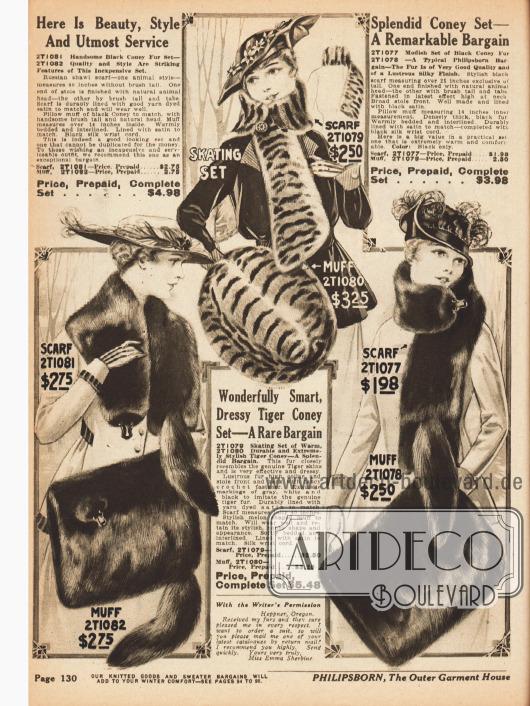 Pelzsets für Frauen bestehend aus Schal und Muff. Die Sets sind aus schwarzem Kaninchenpelz, auf Tiger gefärbtem Kaninchenpelz und nochmals Kaninchen. Alle Teile können entweder getrennt voneinander oder zusammen mit Rabatt als Set erworben werden.