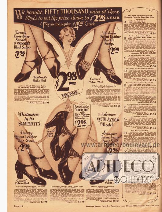 """Seite mit drei Schnallenschuhen, einem Paar Pumps und einem Sandalenschuh mit T-Schnalle zum Preis von jeweils 2,98 Dollar. Die Damenschuhe sind aus Satin oder Lackleder. Das erste Modell oben links zeigt gekreuzte Lederspange, das zweite Paar rechts besitzt eine Strassschnalle und das mittlere Paar unten ist mit alligatorähnlichem Reptilienleder kombiniert. Die Pumps sind entweder mit kubanischen oder mit hohen, spitzen Absätzen (engl. """"spike heels"""") versehen. Rechts sind die Beschreibungen für die Artikel auf der nachfolgenden Seite 119 zu finden."""