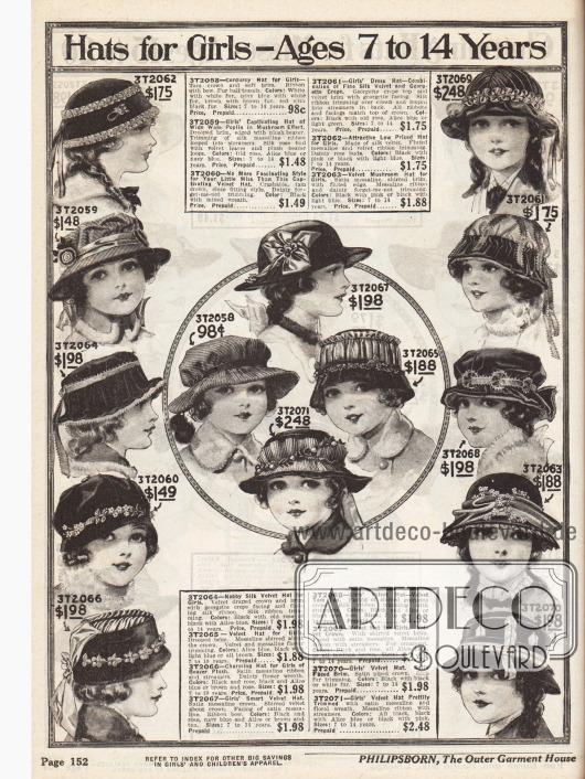 Hüte für Mädchen im Alter von sieben bis 14 Jahren aus Cord, Popelin, Samt, Seiden-Samt und Georgette Krepp, Satin-Messaline, reiner Seide und Biberplüsch. Manche der Hüte sind recht bauschig verarbeitet und einzelne Hüte besitzen keine oder nur eine kurze Krempe. Ripsbänder, künstliche Zweige, Schleifen und Pompons wurden zur Verzierung verwendet.