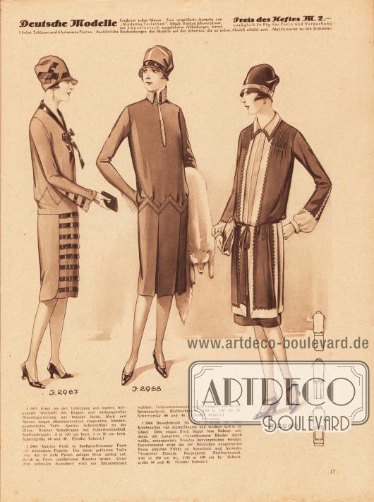 2967: Kleid für den Übergang aus feinem, hellgrauem Wollstoff mit Kragen und wirkungsvoller Blendengarnierung aus brauner Seide. Rock und Ärmel zeigen übereinstimmend eigesetzte, blendengeschmückte Teile. Aparter Schnitteffekt an der Bluse. Kleiner Schalkragen mit Schleifenabschluß. 2968: Apartes Kleid in hochgeschlossener Form aus weinrotem Popelin. Der leicht geblusten Taille liegt der in tiefe Falten gelegte Rock zackig auf, durch in Form geschnittene Blenden betont. Unter dem schmalen Ausschnitt wird ein Spitzeneinsatz sichtbar. Übereinstimmend zeigen Kragen und Ärmel Spitzenaufputz. 2969: Besuchskleid für das Frühjahr in einer Kombination von dunkelblauem und weißem Crêpe de Chine. Dem engen Rock liegen lose Bahnen auf, deren mit Langetten abgeschlossene Ränder durch weiße, untergesetzte Blenden hervorgehoben werden. Harmonierend zeigt die mit Säumchen ausgestattete Bluse gleichen Effekt an Ausschnitt und Ärmeln. Plissierter Einsatz. Bindegürtel.