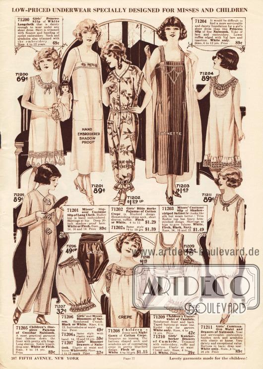 Pyjamas, Unterhemdchen, Hemdhosen, Unterröckchen, Nachthemden, eine einteilige Hemd-Pumphöschen-Kombination und Pumphöschen für Mädchen und kleine Mädchen.Die Unterwäsche und Nachtwäsche ist aus Baumwollgeweben, Baumwoll-Krepp, Satin, Nainsook (besonders leichter Musselin) oder Chambray gewebt und oft bestickt. Spitzenränder, Rüschen und Durchzugstickerei sind an einzelnen Modellen zu finden.