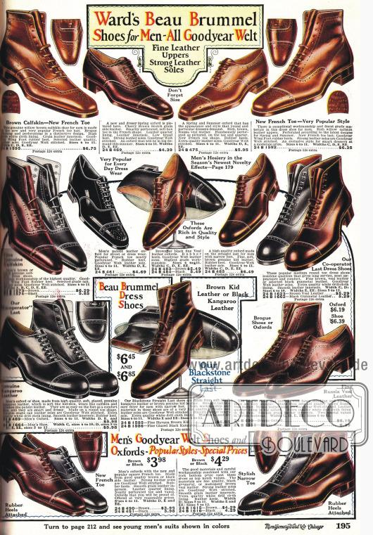 Schuhe für Männer mit spitzer und abgerundeter Spitze.