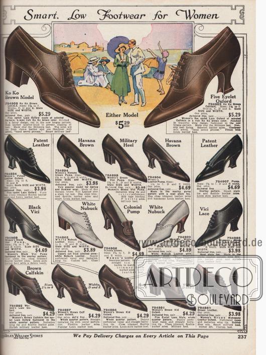 """""""Pfiffige, niedrige Halbschuhe für Damen"""" (engl. """"Smart, Low Footwear for Women""""). Damenschuhe in den Farben Braun, Havanna Braun, Schwarz oder Weiß. Die Pumps und Oxfords sind aus Kalbsleder, Nubuk Leder (Rauleder), Lackleder und """"Vici Leather"""" (?) mit mittelhohen, geschwungenen Louis XIV oder etwas niedrigeren, militärischen Absätzen. Einfache Aufmachungen, leichte Ziernähte, unauffällige Perforationen und kurze Zungen und Schleifen sind bei diesen Modellen charakteristisch. Besonders modisch waren Ende der 1910er Jahre die sehr spitzen Kappen der Schuhe."""