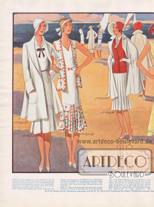 Sommer- und Strandmode für 1930: Strandensembles, Complets und ärmellose Kleider für die Strandpromenade werben um die Gunst der Dame für heiße Tage.Die verwendeten Stoffe von links nach rechts: Wollflausch, Waschseide, Wollrips, Seide, Crêpe de Chine, Traviséseide und Toile de Soie.Das Complet (2. Modell) ist mit Stickereimotiven und Zackenborte am Rockvolant und an der ärmellosen Jacke angereichert. Das gelbe Promenadenkleid (4. Modell) ist mit bogenförmiger Spitze besetzt, während das rosa Hochsommerkleid (5. Modell) durch weiße Plattstichstickerei bereichert wird. Die verschiedenen Teile werden durch eine Stäbchenhohlnaht miteinander verbunden.