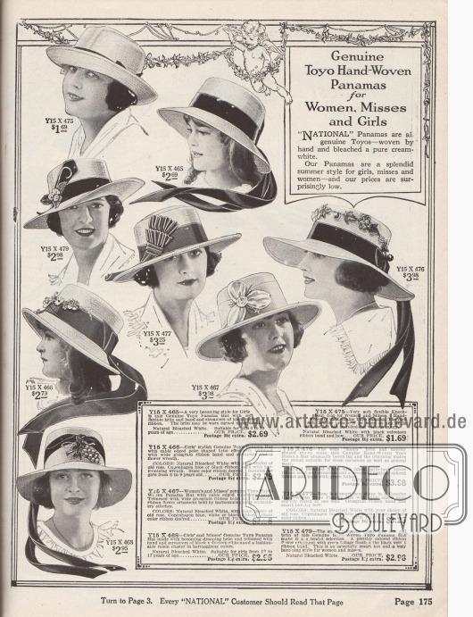 """Sommerlich leichte, günstige Damenhüte aus handgewebtem, weißgebleichtem Toyo Panama Stroh in verschiedenen Stilen und Aufmachungen für Mädchen, junge Frauen und Damen. Die Krempen sind entweder kurz oder eher breit, nach unten gebogen, glatt oder leicht wellig oder auch nach oben gebogen (engl. """"Knockabout hat""""). Die Hutköpfe sind leicht gerundet oder eher mit glatten Kanten (engl. """"telescope crown""""). Als Zierornamente dienen Ripsbänder mit Schleifen und langen Bandenden, Samtbänder, Gebinde und Zweige mit Stoffblüten, Blattwerk und Knospen aus Stoff oder auch künstliche Beeren und Trauben."""