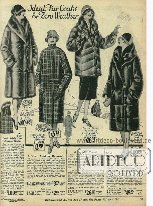 Pelzmäntel und eine Jacke aus Murmeltier- und Kaninchenpelz, ideal für eisige Temperaturen. Das zweite Modell von links ist ein Regenmantel aus gummiertem Wollstoff.