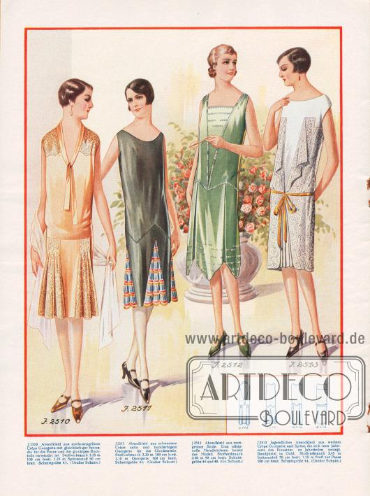 Abendkleider gefertigt aus Georgette und Seide. Das grüne Kleid wird durch Metallstickereien belebt. Das weiße Kleid besitzt zwei Jabotteile von der Brust abgehend.