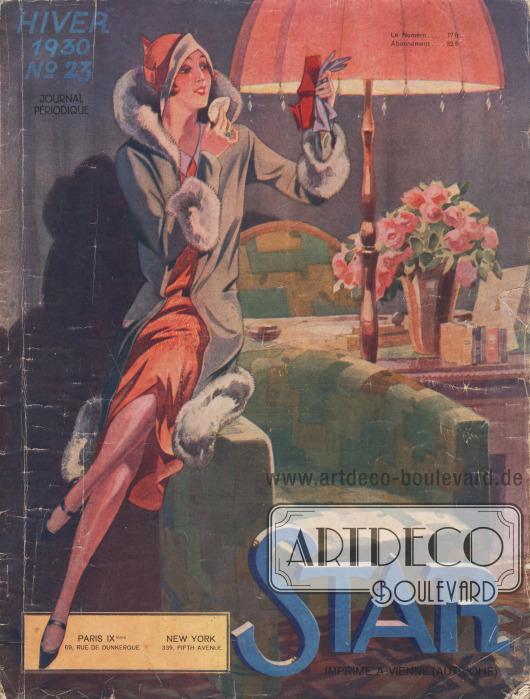 """Titelseite des französischen Saisonalbums Star (""""journal periodique"""") Nr. 23 für Herbst 1929 und Winter 1930. Herausgegeben vom Verlag Société Graphique S. A. Editions de Mode, Paris, Frankreich. """"Gedruckt in Wien (Österreich)"""" (frz. """"Imprimé a Vienne [Autriche]"""")."""