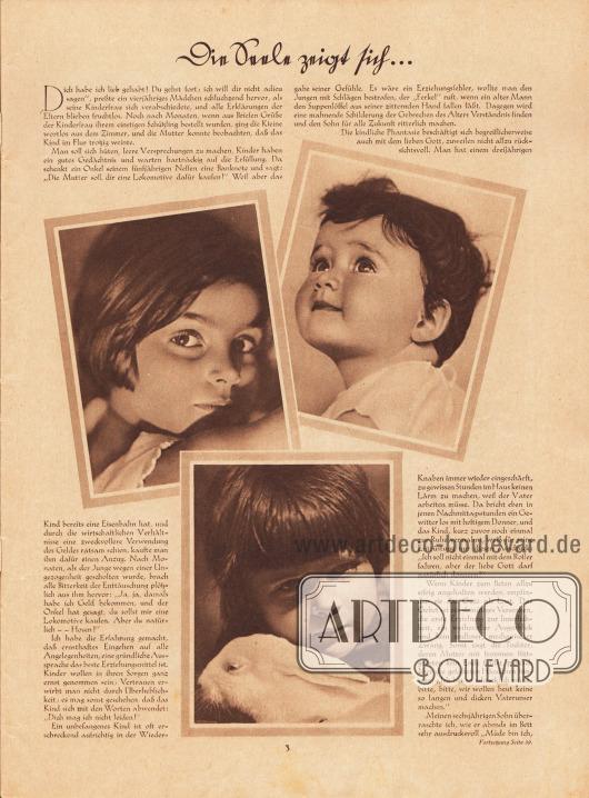 """Artikel: Eipper, Paul, Die Seele zeigt sich… . (aus dem Buch """"Menschenkinder"""" von Paul Eipper, Bilder Hedda Walther, Verlag Dietrich Reimer, Berlin). Fotos: Hedda Walther (1894-1979)."""