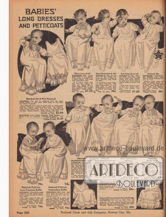 """""""Lange Kleider und Petticoats für Babys"""" (engl. """"Babies' Long Dresses and Petticoats""""). Säuglingskleidung. Lange Hemdchen und Petticoats aus Nainsook (leichter Musseline, Baumwolle) oder Batist bzw. Linon für Neugeborene und Kleinkinder bis ein Jahr. Kleidchen mit Stickerei, Valenciennesspitze, Haarbiesen oder Biesen an Brust oder Saum."""