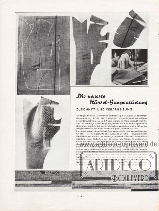 Artikel (Eigenwerbung): O.V., Die neueste Hänsel-Ganzwattierung. Zuschnitt und Verarbeitung. Der Artikel ist mit passenden Fotografien zur Verarbeitung der Hänsel-Halbfertigprodukte ergänzt.