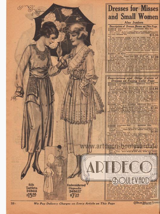 Zwei sommerliche Kleider für junge Frauen oder klein gewachsene Damen. Das erste Modell ist aus kopenhagenblauem, marineblauem oder grauem Seiden-Taft, das zweite aus weißem, besticktem Organdy. Das erste Sommerkleid besitzt Soutachestickerei rund um den Ausschnitt und auf den oberen der beiden doppelten, beidseitigen Bänder, die vom Gürtelband ausgehen. Die Ärmel sind aus Seiden-Georgette mit paspelierten Ärmelaufschlägen. Die Tunika des zweiten Kleides ist unterhalb des Bandgürtels plissiert. Das Oberteil ist mit Biesen versehen und mit zackiger Borte berandet. Hohlnähte an Tunika und Saum. Kleid ist auch für Feste und Abschlussfeiern geeignet.