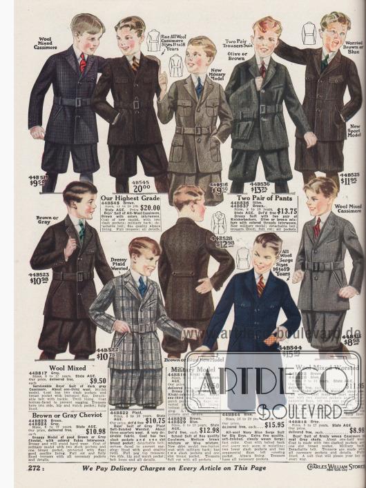 Schul- und Straßenanzüge sowie sportliche Anzüge für Jungen im Alter von 8 bis maximal 19 Jahre. Alle Anzüge werden mit kurzen Knickerbockerhosen, manche mit einer zweiten Wechselhose angeboten. Die verwendeten Stoffe sind Woll-Kaschmir, Woll-Cheviot oder Woll-Serge. Die Anzugstoffe haben die Farben Dunkelbraun, Dunkelblau, Khaki, Olivgrün, Braun, Grau oder Hellgrau kariert. Unter den Anzugjacken sind viele an militärische Uniformen angelehnt und besitzen typisch aufgesetzte Taschen; zwei kleine Brusttaschen und zwei größere Schoßtaschen.