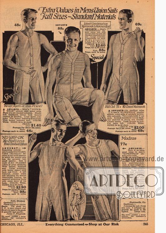 Athletische einteilige Unterwäsche für Männer mit Knopfleiste in der Front aus Nainsook (leichter Musselin), Madras, Satin und Baumwolle.