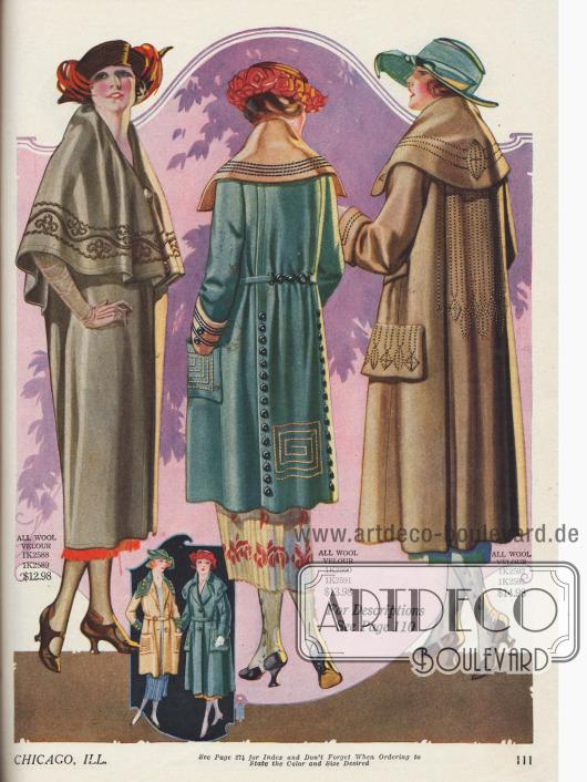 Frühjahrsmäntel für Damen aus reinem Woll-Velours im markant modisch überweiten Schnitt der frühen Zwanziger Jahre. Auffällig sind hier, wie bei den Kostümen und Kleidern, die reichen geometrischen und ornamentalen Panel- und Randstickereien oder langen Zierknopfleisten. Zudem stehen überbreite Kragen und Falten werfende Capes hoch im Kurs.