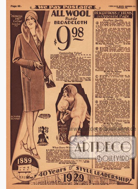 Damenmantel für 9,98 Dollar aus reinem Woll-Breitgewebe mit leichter Kaninchenpelz-Verbrämung. Vertikale Paspeln betonen die schlanke Linie und modernistische Ornamente aus Metall dienen als Zierde. Rechts darunter befindet sich ein Pelzschal (Pelzkollier) aus Mufflon für 6,98 Dollar. In der rechten Spalte sind die Beschreibungen für die Modelle auf der gegenüberliegenden Seite zu finden.