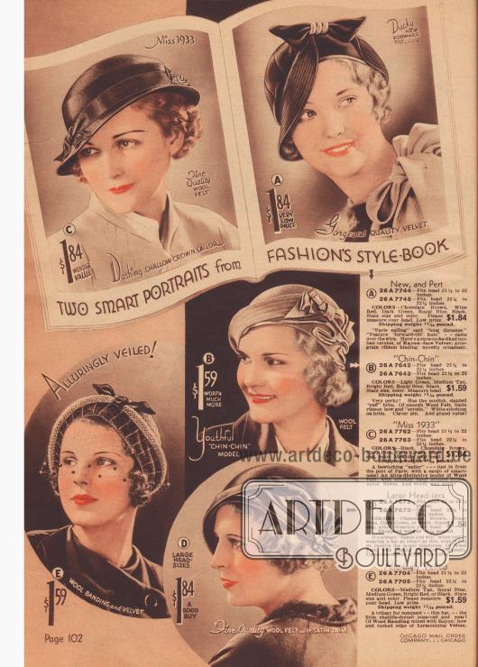 Teilweise kolorierte Bilder zeigen aktuelle Baretts und Hüte mit Schleifen und Ornament.
