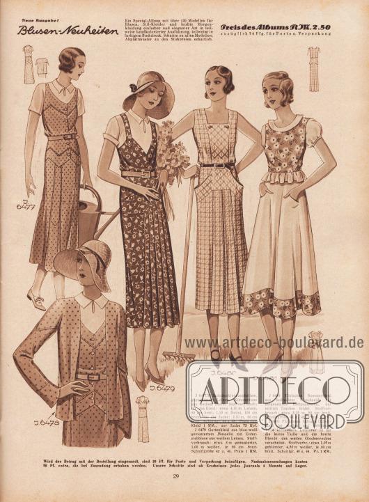 J 6477/78: Jäckchenkleid aus hellem, gepunktetem Leinen. Kimonobluse aus weißem Batist. Stoffverbrauch: für das Kleid: etwa 4,10 m Leinen, 80 cm breit, 1,15 m Batist, 100 cm breit; für die Jacke: 2,10 m, 80 cm breit. Schnittgr. 44 u. 48. Preis zum Kleid 1 RM., zur Jacke 75 Rpf. J 6479: Gartenkleid aus blau-weiß gemustertem Musselin mit Unterziehbluse aus weißem Leinen. Stoffverbrauch: etwa 3 m gemusterter, 1,60 m weißer, je 80 cm breit. Schnittgröße 42 u. 46. Preis 1 RM. J 6480: Einfaches Sommerkleid aus bedruckter Waschseide mit aufgesetztem Hüftpassenteil, der seitlich Taschen bildet. Stoffverbrauch: etwa 5,15 m, 80 cm breit. Schnittgröße 44 u. 48. Preis 1 RM. J 6481: Für dieses hübsche Dirndlkleid ist weißer und geblümter Toile kombiniert. Letzterer ist für die kurze Taille und die breite Blende des weiten Glockenrockes verarbeitet. Stoffverbr.: etwa 1,95 m geblümter, 4,55 m weißer, je 80 cm breit. Schnittgr. 40 u. 44. Pr. 1 RM. [Seite] 29