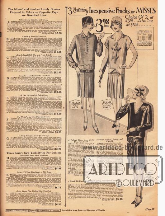 Drei günstige und einfache Tageskleider für junge Frauen. Die Kleider sind aus importierten reinen Leinengeweben und Seidengeweben sowie Seiden-Satin-Charmeuse hergestellt. Quetschfalten und gepuffte Unterärmel zeigt das erste Kleid. Das zweite Modell präsentiert eine jabotartige Schleifengarnitur, kurze Ärmel und eine Reihenziehung vorne am Rock. Auch das dritte Modell weist eine Reihenziehung auf sowie eine Ansteckblume an der Schulter.