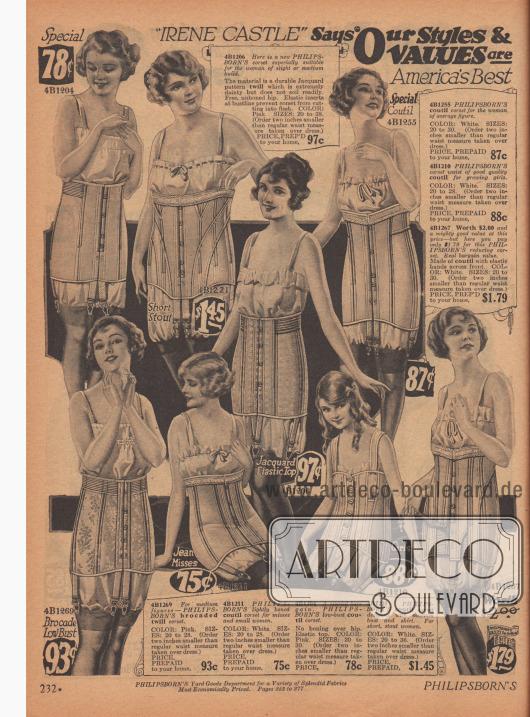 Damenkorsetts aus Coutil (dicht gewebte Baumwolle) für Damen mit starken bis schlanken Formen. Auch für junge, heranwachsende Mädchen werden Korsetts angeboten.