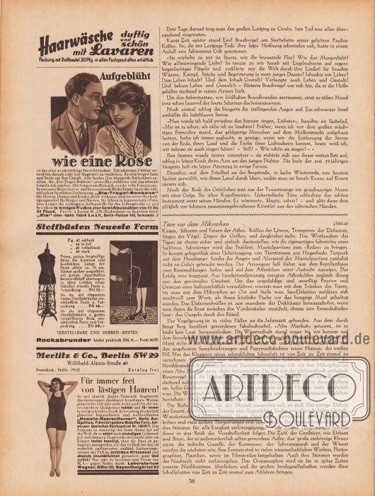 """Artikel: Ebers, Fritz, Brand bei Kroll (von Fritz Ebers); o. V., Tiere vor dem Mikrophon.  Werbung: """"Haarwäsche duftig und schön mit Lavaren"""", Lavaren Haar-Schampoo; """"Aufgeblüht wie eine Rose ist das einst so schmächtige Mauerblümchen"""", Eta-Tragol-Bonbons zur Gewichtszunahme, """"Eta"""" chem.-techn. Fabrik G.m.b.H., Berlin-Pankow 148, Borkumstr. 2; """"Stoffbüsten Neueste Form"""" und Rockabrunder, Merlitz & Co., Berlin SW 29, Willibald-Alexis-Straße 40; """"Für immer frei von lästigen Haaren!"""", """"Hewalin-Haarentferner"""", Marke Antipillox, Laboratorium Wagner, Köln 132, Bayenthalgürtel 32."""