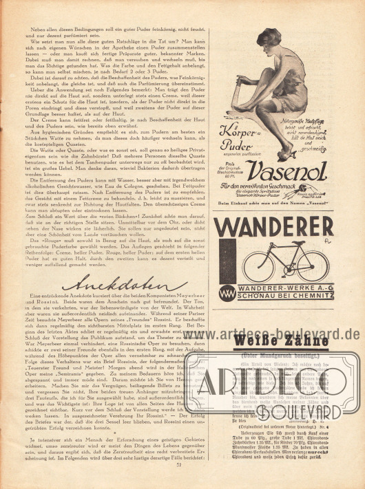 Artikel: O. V., Etwas über das Pudern; O. V., Anekdoten. Werbung: Vasenol Körperpuder; Wanderer-Werke AG, Schönau bei Chemnitz; Chlorodont Zahnpasta.