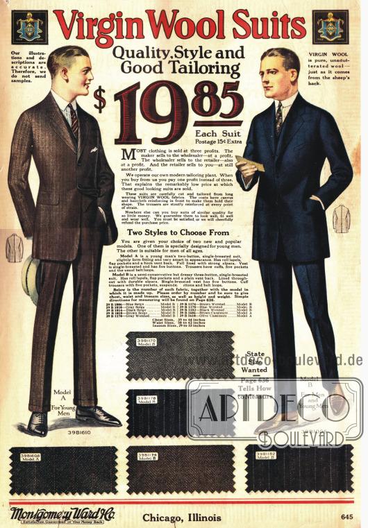 Links ein Anzug für Junge Männer mit zwei Knöpfen und rechts ein konservatives Modell, das auf drei Knöpfen geschlossen werden kann. Wahlweise bestellbar in den unten abgebildeten Stoffmustern.