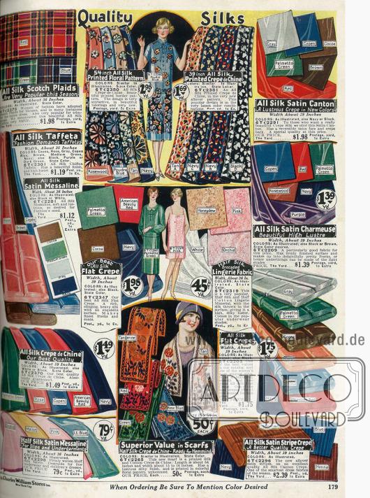 """""""Quality Silks"""" - Qualitätsseide. Bedruckte und einfarbige Stoffe wie reine Seide, Seiden-Taft, Satin-Messaline, Crêpe de Chine sowie Baumwoll-Satin für Unterwäsche und Kleider."""