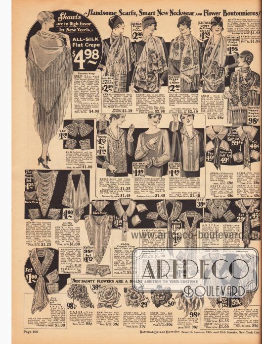 Seite mit hübschen Schals aus Seiden Crêpe de Chine und Seiden-Georgette Krepp mit bunten Motiven für Frauen und einem großflächigen Spanischen Schal aus Seiden Krepp mit langen Fransen (links oben).In der Mitte der Seite befinden sich mannigfaltige Garnituren (Weißware) zum Anbringen an selbst genähten Kleidern oder Blusen. Darunter befinden sich Kragen, Lätzchen, Jabots mit dazu passenden Ärmelaufschlägen aus Spitzen, Seiden-Georgette Krepps, Seiden Crêpe de Chines und Baumwollstoffen.Unten im Bild befinden sich künstliche Ansteckblumen und Blüten, die gerade 1928 sehr populär sind und gerne am Knopfloch oder an der Schulter angebracht werden.