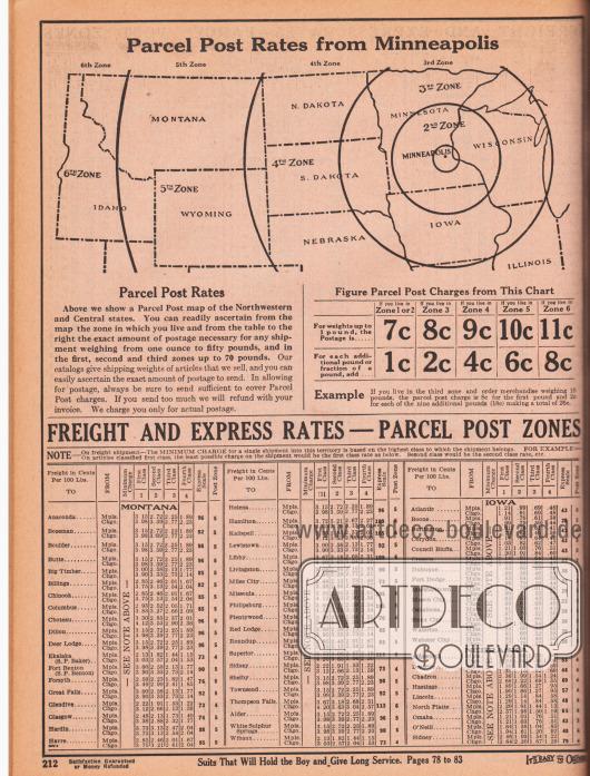 """""""Paketgebühren ausgehend von Minneapolis"""" (engl. """"Parcel Post Rates from Minneapolis""""). Oben werden die US-Bundesstaaten auf einer Karte gezeigt, die von M. W. Savage beliefert werden (Idaho, Montana, Wyoming, North Dakota, South Dakota, Nebraska, Minnesota, Iowa, Wisconsin und Illinois). Unten werden die Paketgebühren nach Zonen (nach Entfernung von Minneapolis) für Frachtgebühren und Expressporto angegeben."""
