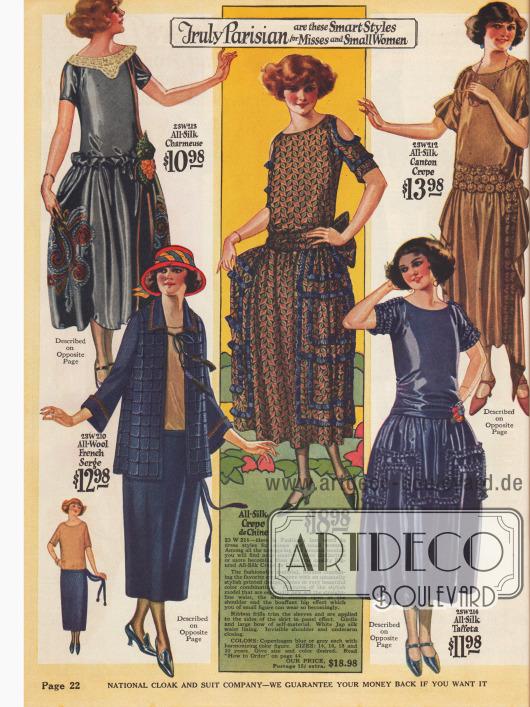 Sommerkleider für junge Damen und klein gewachsene Frauen mit bauschiger Rockfülle aus Seiden-Charmeuse, Crêpe de Chine, Seiden-Taft und Seiden Krepp. Das Kostüm links unten besteht aus Woll-Serge.