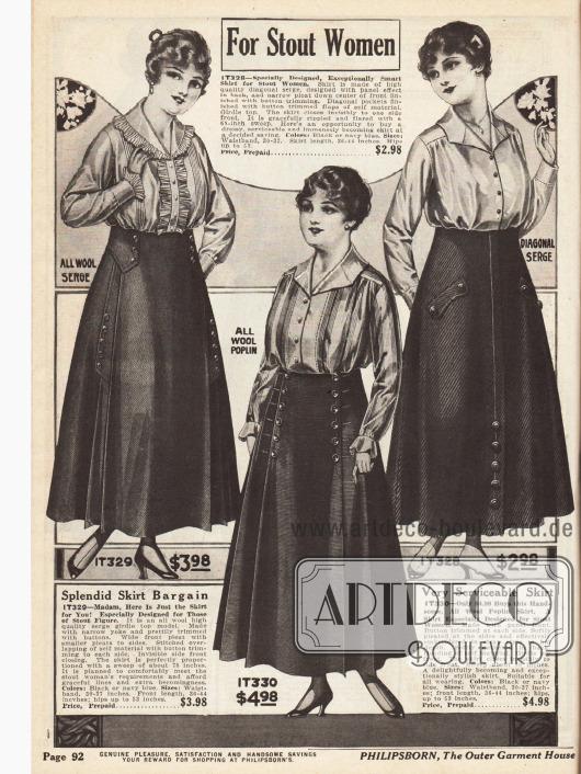 Röcke speziell für stärkere, korpulentere Figuren aus reinem Woll-Serge, Woll-Popelin und diagonal verarbeitetem Serge. Als dezente Zierde dienen einzelne Knöpfe und Knopfleisten.