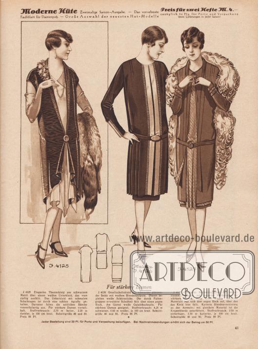 """""""Für stärkere Damen"""". 4125: Elegantes Theaterkleid aus schwarzem Moiré über einem weißen Unterkleid, das vorn zipflig ausfällt. Das Überkleid mit schmalem Schalkragen ist durch eine schöne Agraffe gehalten. Darunter fallen die seitlichen Ränder wasserfallartig aus. Für stärkere Damen vorteilhaft. 4126: Gesellschaftskleid aus schwarzer glänzender Seide mit weißem Blendenaufputz. Diesen begleiten weiße Schürzstiche. Der durch Faltengruppen erweiterte Schoßteil fällt über einen engen Rock. Am Gürtel weiße Galalithschnalle. Für stärkere Damen geeignet. 4127: Elegantes Nachmittagskleid aus mittelblauem Veloutine mit karierter Vorderbahn, für stärkere Damen. Eine breite Blende karierten Materials legt sich dem engen Rock auf, über den das Kleid lose fällt. Karierte Blendenverzierung an den Ärmeln; mit gleichem Material ist die Kragenblende unterfüttert."""