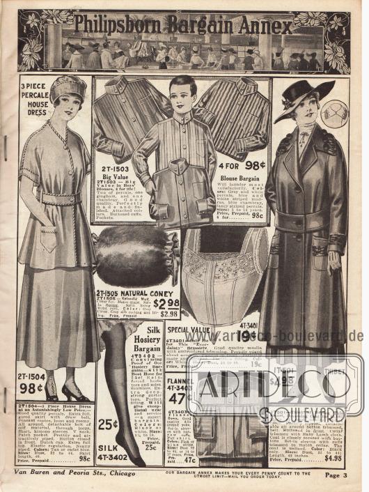 """Zweite Seite mit Sonderangeboten, wie z.B. einem dreiteiligen Hauskleid aus Perkal (dicht gewebter Batist) für 98 ¢, vier Hemden (zwei aus Perkal, eines aus Gingham und eins aus Chambray) für Jungen im Alter von 5 bis 16 Jahren, einem Muff aus Kaninchenpelz, einem Bustier aus Musselin, einem Damenmantel aus """"Thibet"""" Stoff, einem Paar Damenstrümpfen aus Seide sowie einem Nachthemd aus Flanell für Frauen."""