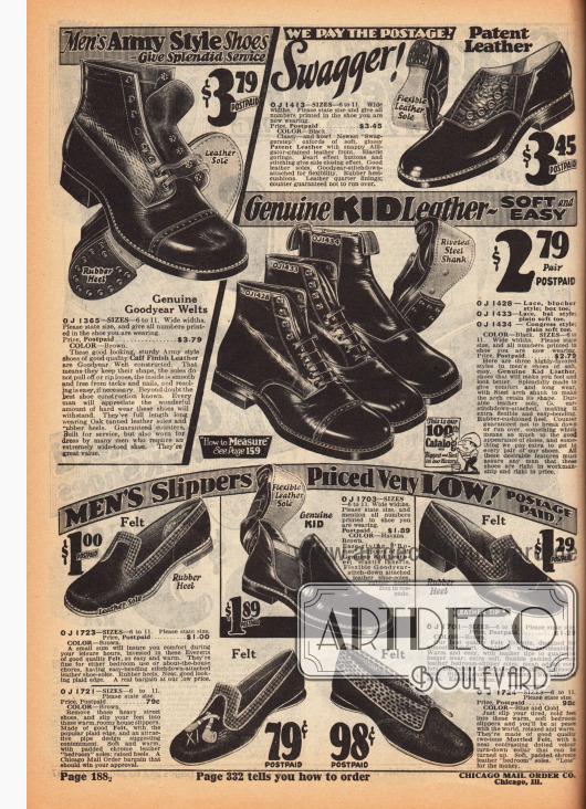 """Überknöchelhohe Stiefeletten der robusten Sorte und hochwertigen Verarbeitung aus Chevreauleder (Ziegenleder) mit Ledersohlen und Goodyear Gummiabsätzen zum Schnüren. Oben links wird ein """"Swagger"""" (dt. """"stolzieren"""", """"grosstun"""") Halbschuhmodell aus Lackleder und Reptilleder beworben. Im unteren Bildbereich werden Pantoffeln und Hausschuhe für Männer aus Filz und Leder angeboten."""