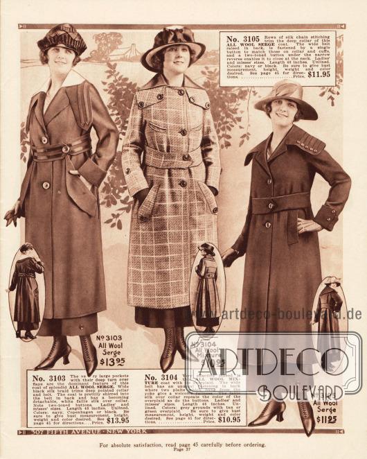 Mäntel für Frauen aus Woll-Serge und Woll-Mischstoff. Breite eingearbeitete Taschen, große Knöpfe, Tressen (erstes Modell), der leicht kürzere Schnitt als bei den Kleidern sowie die überbreiten Kragen sind charakteristisch für die Frühjahrsmode 1919.