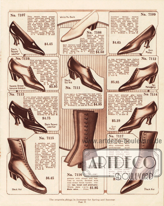 Pumps, Oxfords und Stiefeletten aus Lackleder, Ziegenleder und Nubukleder (angerautes Leder, das eine samtartige Oberfläche besitzt). Die Schuhe präsentieren niedrige und mittelhohe Militärabsätze oder mittelhohe Louis XIV Absätze. Leichte Perforationen an den Nähten dienen der Zierde. Zudem befinden sich ein Paar Gamaschen im unteren Bildmittel.