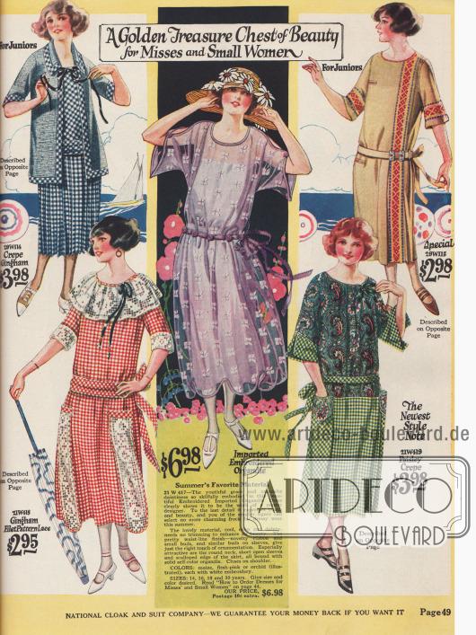 Schlichte Kleider für junge Damen aus Gingham, Gingham mit Spitzenstoff, besticktem Organdy und zwei Kleidern aus Baumwolle.
