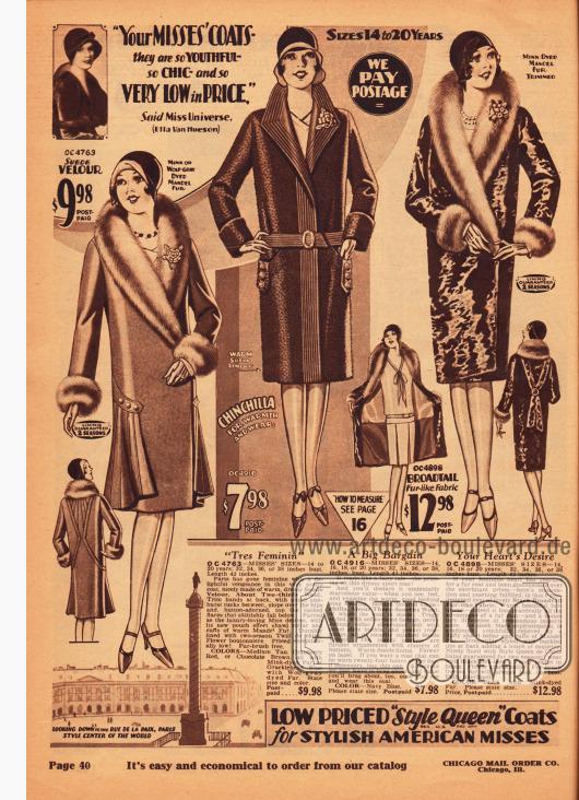 """Kleidsame Wintermäntel für junge Frauen zwischen 14 und 20 Jahre aus Woll-Veloursleder, Chinchilla und breitschwanzartigem Pelzimitat. Der erste und der letzte Mantel sind zudem mit chinesischem Schafsfell (""""mandel fur"""") verbrämt. Der erste Mantel zeigt in der Rückenpartie symmetrische Paspelierung und einen glockig gearbeiteten Rock. Der zweite unverbrämte Mantel besitzt angeschrägte, seitliche Taschen und zeigt vom Kragen bis zum Saum vertikal geführte Ziernähte. Alle Mäntel werden mit einer kostenlosen Ansteckblume geliefert."""