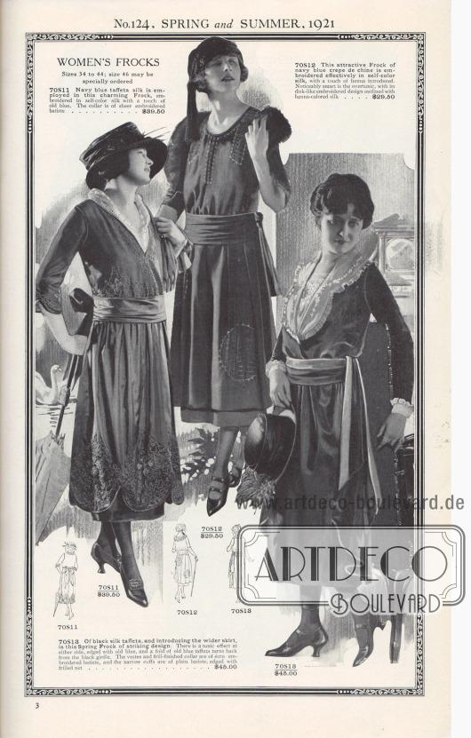 Nr. 124, FRÜHLING und SOMMER, 1921.  DAMENKLEIDER. Größen 34 bis 44; Größe 46 kann gesondert bestellt werden.  70S11: Marineblaue Taft-Seide wird für dieses charmante Kleid verwendet, der in einfarbiger Seide mit einem Hauch von Altblau bestickt ist. Der Kragen ist aus hauchdünnem, besticktem Batist… 39,50 $. 70S12: Dieses attraktive Kleid aus marineblauem Crêpe de Chine ist effektvoll in gleichfarbiger Seide bestickt, wobei ein Hauch von Henna eingearbeitet wurde. Bemerkenswert elegant ist die Tunika mit ihrem scheibenartig gestickten Muster, das mit hennafarbener Seide umrandet ist… 29,50 $. 70S13: Aus schwarzem Seidentaft und mit einem neuartig breiten Rock ist dieses Frühlingskleid von eindrucksvollem Design. An beiden Seiten zeigt sich ein Tunika-Effekt, der mit Altblau eingefasst ist. Der breite, in Fältchen gelegte Bindegürtel ist ebenso teilweise mit altblauem Taft auf der Rückseite abgefüttert. Der Plastron und der mit Rüschen versehene Kragen sind aus écrufarbenem, besticktem Batist und die schmalen Manschetten sind aus einfarbigem Batist, eingefasst mit gekräuseltem Netzgewebe… 45,00 $.  [Seite] 3