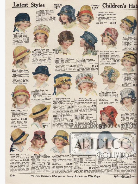 """Hauben, Mützen und Strohhüte für kleine Mädchen im Alter von 2 bis 8 Jahre. Die Hüte sind aus Milanstroh, Hanfstroh, Tuscan Stroh und geblümter """"Seco""""-Seide, Javastroh, Seiden-Messaline, weißem Pikee, Seiden-Popeline und Valenciennesspitze sowie Panama Stroh. Die Mädchenhüte sind mit schmalen oder breiteren Ripsbändern, Kunstblumen, künstlichen Kirschen, Schleifen, Gänseblümchen und Margeriten oder auch Knospen aufgeputzt. Unter den Formen dominieren Hauben- und Glockenformen. Aber auch Schuten sowie ein Matrosenhut sind zu finden."""