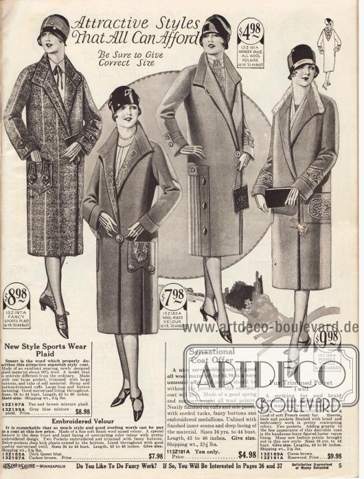 """""""Attraktive Modelle die sich jeder leisten kann"""" (engl. """"Attractive Styles That All Can Afford"""").Vier Frühjahrsmäntel aus 90 Prozent Wolle, Woll-Velours-Mischgewebe, """"woll polaire"""" und Poiret Wolle. Der Kragen des vierten Modells von rechts ist mit einem Pelzstreifen aus französischem Kaninchen besetzt.Der erste Mantel ist ein Sportmantel und ist mit Streifen aus demselben Mantelmaterial sowie mit Knöpfen verschönt. Das zweite und vierte Modell sind mit Stickereien versehen. Seitliche Paneele und Paspeln werten das dritte Modelle auf."""