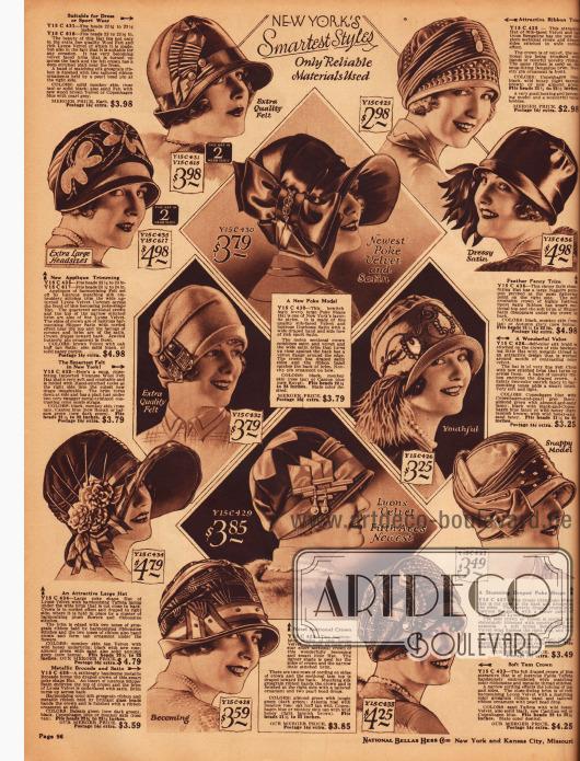 Doppelseite mit 24 kleidsamen Damenhüten für den kommenden Winter 1927/28. Seitliche Ornamente, seien es Federn, Blüten oder Broschen, zeigen sich an sehr vielen der gezeigten Hutmodelle.
