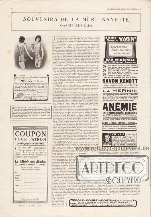 """Artikel: O. V., Souvenirs de la mère Nanette. Garnitures (Suite).  Links unten befinden sich Informationen und Hinweise zum Bestellen von Schnittmustern. Darunter ist der Coupon zum Einsenden und Bestellen von Schnittmustern (ein Schnittmuster als monatliche Prämie, siehe Innenseite des Umschlags).  Werbung: """"Minerve"""" Korsetts für 4 bis 16-jährige Mädchen, Henry, Rue J.-J. Rousseau, 23, Paris (1er), Fabricant Charles Féron, Flers-de-l'Orne; """"Saint Galmier Source Badoit – Eau Minérale Naturellement Gazeuse""""; """"Lavez-vous les dents chaque matin avec le délicieux Savon Kenott"""", Parfumerie Esthétique, r. Lafayette, 39, Paris; M. A. Claverie, 234, Faubourg-Saint-Martin, Paris; """"Sirop d'Hémoglobine Deschiens"""", Dépot G., Deschiens, 9, Rue Paul Baudry, Paris; """"Faites vos Robes, Chapeaux, Corsets"""", l'Institut de Coupe de Paris, 54, R. d'Amsterdam; Vif Kair, 37, pass. Jouffroy, Paris (Coiffeurs, Parfumeurs, Grand magasins); École de coupe et de couture, 59, Rue de Rivoli, Paris."""